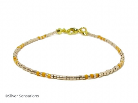 Pale Gold & Orange Seed Bead Stacking Bracelet